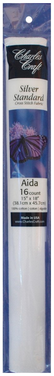 DMC TC8636-6750 Silver Label Aida Count with Soft Tube, White, 15 by 18-Inch, 16-Count