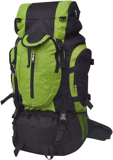 vidaXL Mochila de Senderismo Excursionismo XXL Hidrófuga 75 L Negro y Verde