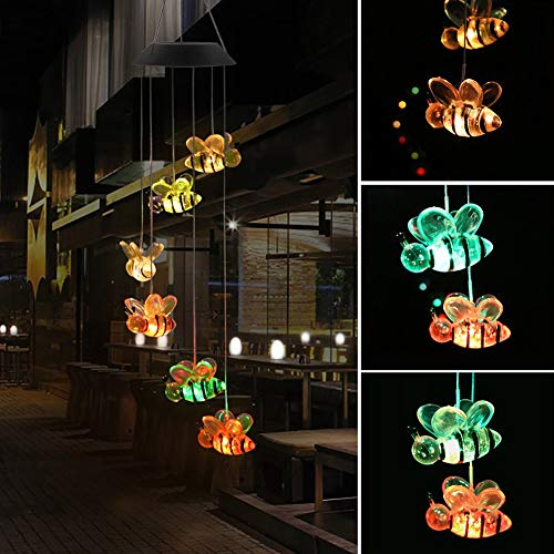 TTShonf Color-changing Outdoor Pendant Bell Solar Powered Lamp Bee Wind Chime LED Light Colorful