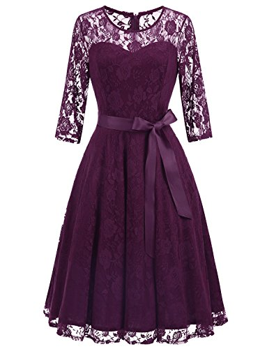 Dressystar 0017 Women's Elegant Floral Lace Dress 3/4 Sleeves Bridesmaid Midi Dresses Illusion Neckline Grape XXXL