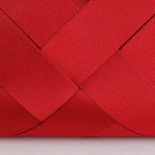 Bidear Satin Evening Bag Clutch, Party Purse, Wedding Handbag with Chain Strap for Women Girl (Red) by Bidear (Image #9)