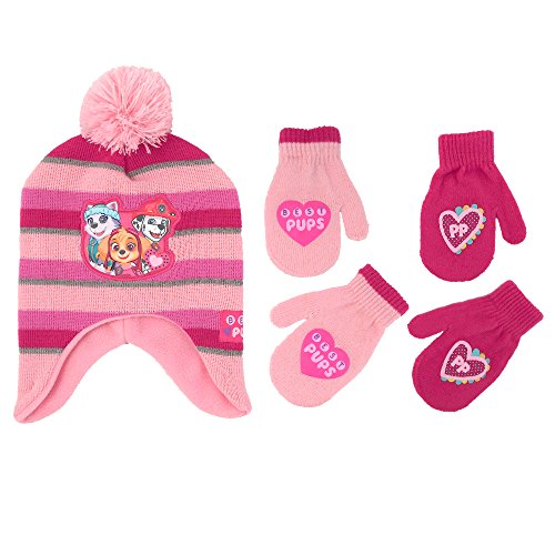 Nickelodeon Little Girls Paw Patrol Character Hat and 2 Pair Mittens or Gloves Cold Weather Set, Age 2-7 (Toddler Girls Age 2-4 Hat & 2 Pair Mittens Set, Light Pink/Dark (Paw Patrol Accessories)