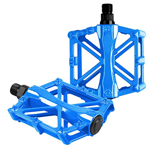 - Bike Pedals - Aluminum CNC Bearing Mountain Bike Pedals - Road Bike Pedals with 16 Anti-skid Pins - Lightweight Bicycle Platform Pedals - Universal 9/16