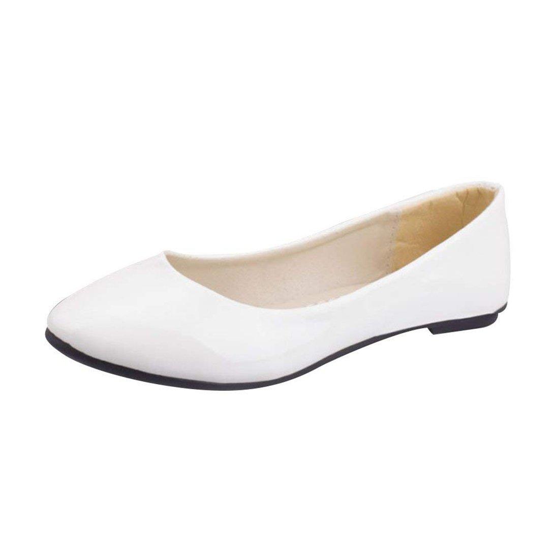 Femme Ballerines Plates Mode Pointue Glisser sur 9376 Depolie Été Faux Cuir Brillante Mode Simple Chaussures de Été Blanc e630037 - shopssong.space