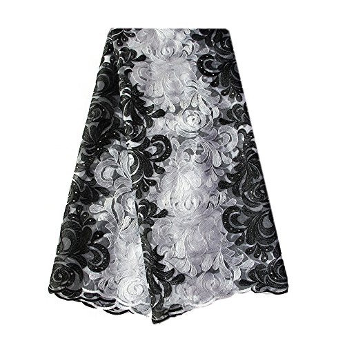 African Lace Fabric Swiss Voile Lace Emboridery French Mesh Lace Fabric Material (Black) (French Fabric Material)