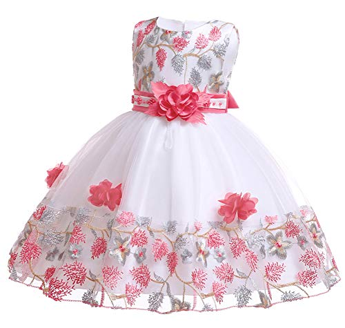 (Little Girls Easter Dresses Kids Lace Ball Gown Floral Formal Occasion Easter Dress 8T 9 Years(Watermelon,140))