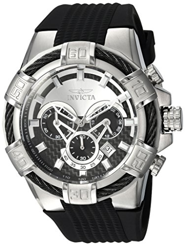 Invicta Men's Bolt Stainless Steel Quartz Watch with Silicone Strap, Black, 32 (Model: 24691) (Invicta Mens Watches Bolt)