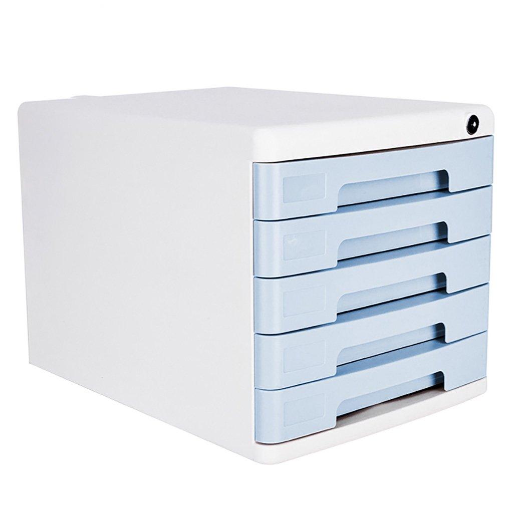 Wanli666 Cassettiera portaoggetti in plastica Cassettiera per scrivania Organizzatore con serratura per armadio per documenti Scatola A4 per ufficio/Colore: blu (Dimensioni: 360 * 270 * 255mm)
