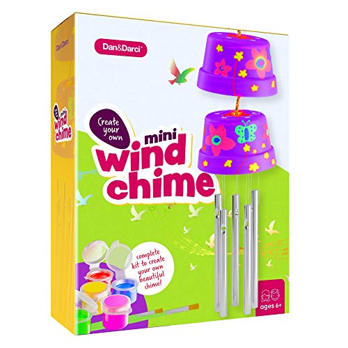 Create & Paint a Mini Wind Chime Making Kit – Arts and Crafts Gift for Girls & Boys Ages 4 5 6 7 8 9 10 -12 – Birthday…