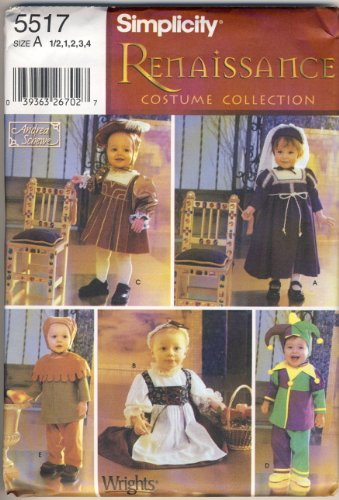 Simplicity 5517 Sewing Pattern, Size A 1/2, 1, 2, 3, 4 for Toddlers, Renaissance Costume Collection
