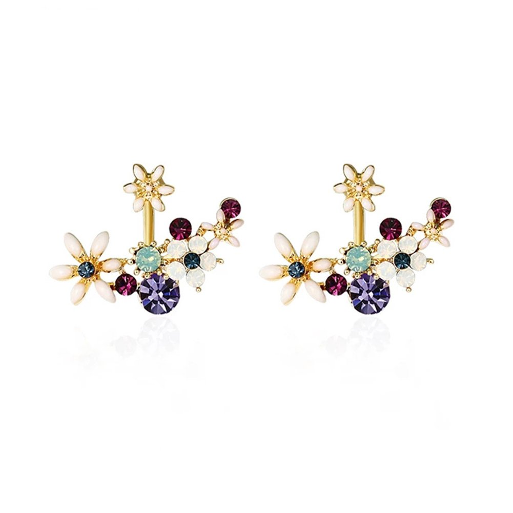 Flower Earrings Fashion Gold Colorful Gemstone Cuff Stud Earrings for Women