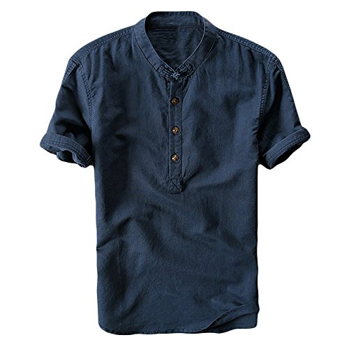 Beotyshow Mens Mandarin Collar Short Sleeve Shirts Casual Beach Summer Linen Chinese Frog Button Front Pullover Henley Shirt Plain Crew Neck Shirts Solid Tops for Father Gifts