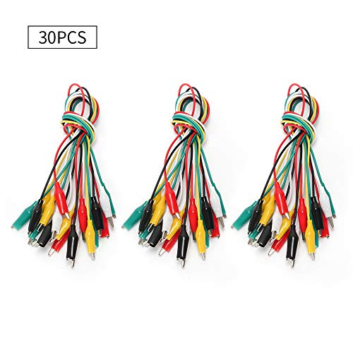 Oak-Pine 30pcs Test Leads Kit with Alligator Clips Double- end 50cm Jumper Wires Colorful -