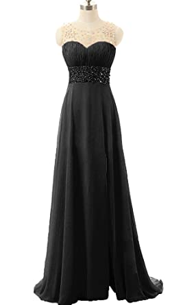 QSYE Womens Sheer Beaded Prom Dresses Bridesmaid Chiffon Evening Formal Gowns With Side Slit Black,