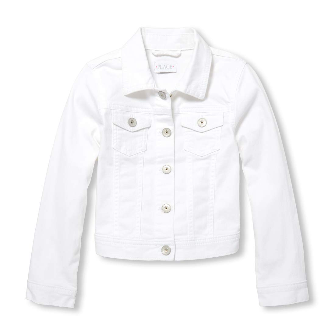 The Children's Place Girls' Big Denim Jacket, White XS (4)