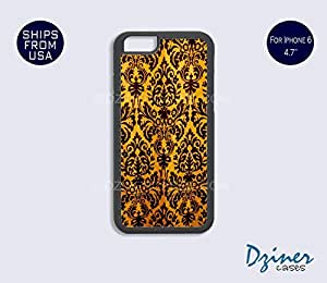 iPhone 6 Case - 4.7 inch model - Gold Black Damask Pattern iPhone Cover