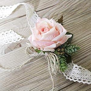 Wedding corsage, blush pink rose wedding corsage, bridesmaid corsage, wrist corsage, artificial flower corsage 4