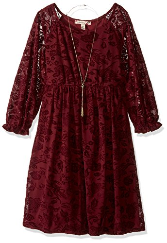 Price comparison product image Speechless Big Girls' Flocked Babydoll with Necklace Dress,  Wine,  16
