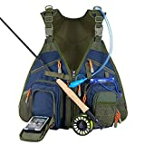 Piscifun Fishing Vest Backpack Adjustable Size Fly Fishing Vest Pack for Tackle and Gear Includes Water Bladder and Waterproof Phone Pouch For Sale