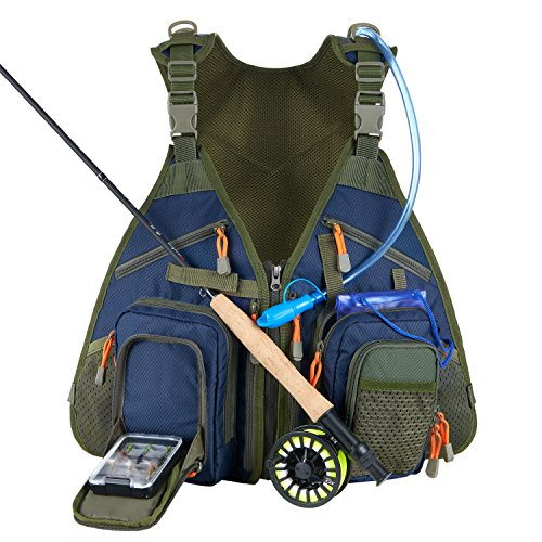 - Piscifun Fishing Vest Backpack Adjustable Size Fly Fishing Vest Pack for Tackle and Gear Includes Water Bladder and Waterproof Phone Pouch