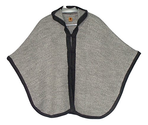 #1424 Knit Two Tone Hooded Cape Very Soft Alpaca Accessory Black Gray Button Down Peru One SIze from Unknown