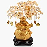 Feng Shui Yellow Crystal Gem Stones Fortune Tree with Gold Coins Wealth Blessing Gift W3149