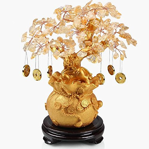 Feng Shui Yellow Crystal Gem Stones Fortune Tree with Gold Coins Wealth Blessing Gift W3149 (Leaf Gold Citrine)