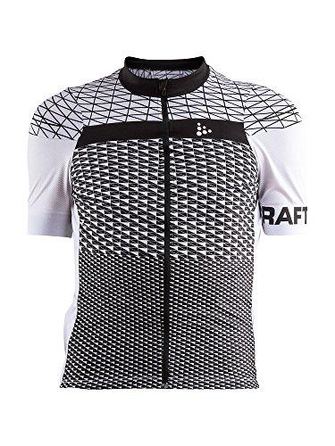 Craft Sportswear Mens Route Cycling Bike Riding Short Sleeve Jersey Shirt, White/Black, Large ()