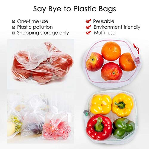 15 Reusable Produce bags Set,YIHONG Zero Waste Produce Bags See-Through Mesh Bags with Drawstring Toggle Closure, Colorful Tare Weight Tags,3 Sizes by YIHONG (Image #7)
