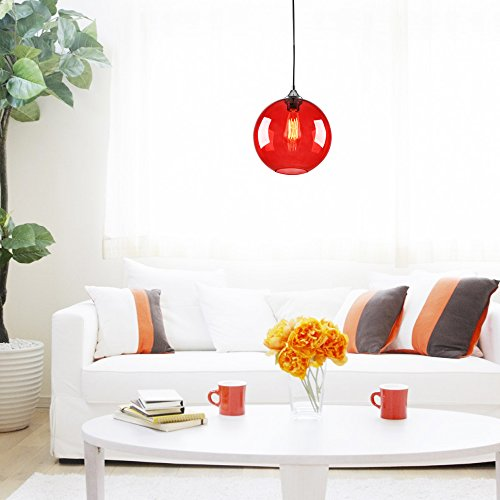 LightInTheBox Vintage Glass Pendant Light in Round Red Bubble Design, Modern Home Ceiling Light Fixture Flush Mount, Pendant Lamp Chandeliers Lighting, Voltage=110-120V;Home Color=Red (Pendant Red Light)