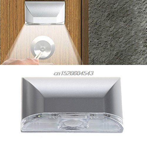 Keyhole Light, Stick-On Super Bright Motion Activated Keyhole Light Lamp Door Keyhole LED Night Light Battery Operated with PIR Motion Auto Sensor LED Night Light for Key Hole, Door Lock (Silver)