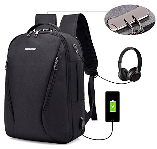 LINGTOM 15.6 Laptop Backpack, Anti Theft Water Resistant Business Computer Bag, Travel College School Backpack for Women & Men with USB Charging and Earphone Port, Black