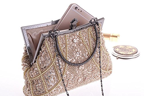 Evening Bag Embroidery Wedding Brown Vintage Prom Pearl Handle Clutch Top Hand Bead Formal tUOqw5Z4x