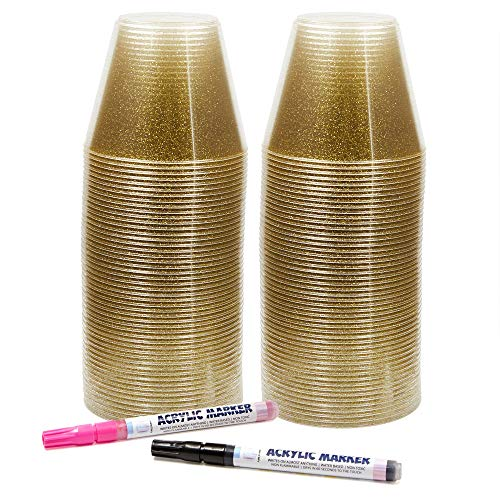 Pure Journi Fancy Plastic Party Cups, 9 Oz. | 100 Gold Glitter Cups for Wedding Reception, Christmas, Parties | For Wine, Champagne, Appetizer Tumbler, etc. | Includes 2 Marker Pens (Black & Pink)