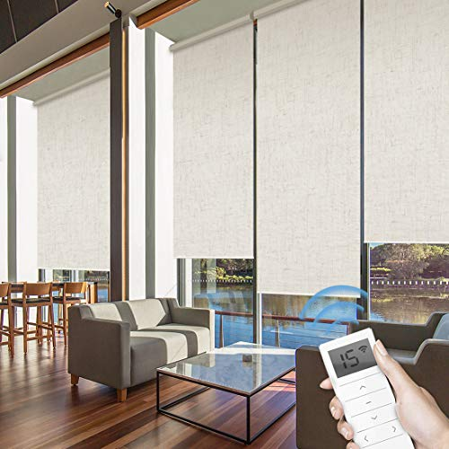 Graywind Motorized Roller Shades 60% Blackout Light Filtering Window Shades Cordless Window Blinds Freestop Roller Blinds with Valance for Smart Home and Office, Customized Size, Linen Beige