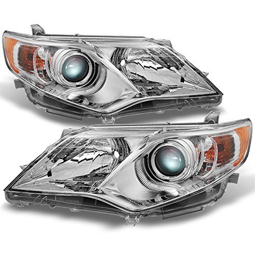 For Toyota Camry Chrome Clear Projector Headlights Driver Left + Passenger Right Side Replacement Pair