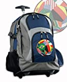 Soccer Rolling Backpack Deluxe Navy International Flags Soccer Backpacks Bags w
