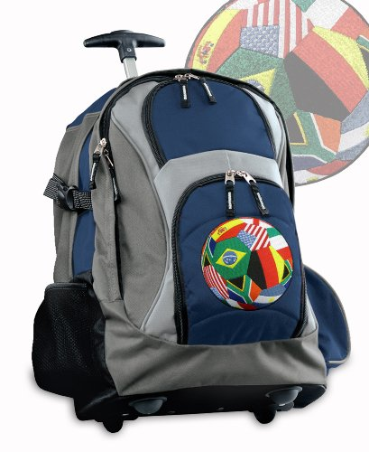 Soccer Rolling Backpack Deluxe Navy International Flags Socc