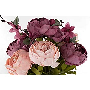 EZFLOWERY 1 Pack Artificial Peony Silk Flowers Arrangement Bouquet for Wedding Centerpiece Room Party Home Decoration, Elegant Vintage, Perfect for Spring, Summer and Occasions (1, Blush) 3