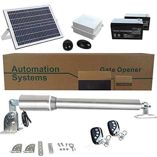 ECO LLC Solar Powered Heavy-Duty(300KG) Single Swing Automatic Gate Opener Kit Suitable for Opening Gates Up to 2.5M Wide and 50M Remote Control DC24V (Powered Opener Gate Solar)