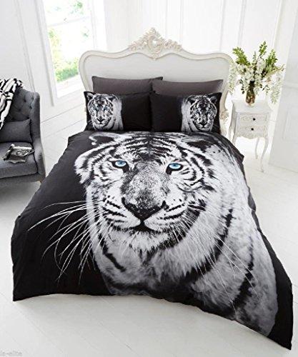(RIMI Hanger Duvet Cover Sets 3D Animal Print Bedding Pillow Cases King Size Double Single (King Size, White Tiger))
