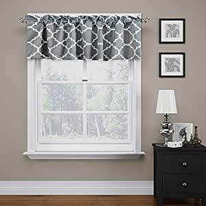 Flamingop Moroccan Gray Valance Curtain Extra Wide And Short Window Treatment For
