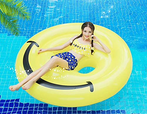 Inflatable Emoji Smiley Face Floating Row Adults Kids Summer Beach Toy Swimming Pool Party Lounge Round Raft-Yellow by WYL (Image #1)