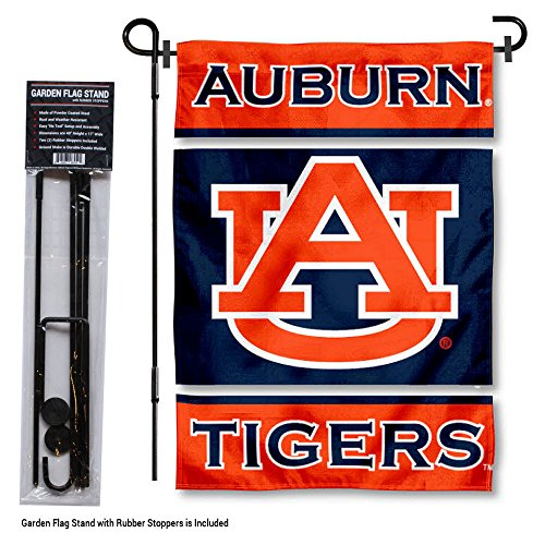 (College Flags and Banners Co. Auburn Tigers Garden Flag with Stand Holder)