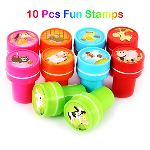 AStorePlus Best 10pcs Assorted Farm Animals Stamps Cartoon Stampers Toys for Kids Self-Ink Stamps, Party Favor Gifts, School Prizes, Teacher Stamps