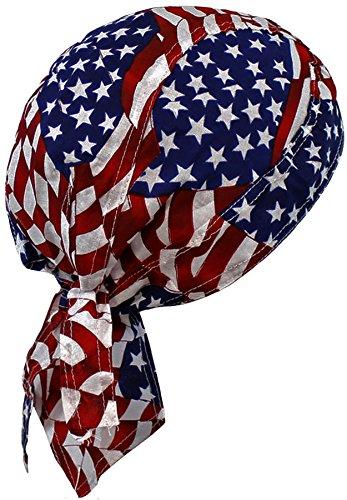 - American Flag Patriotic Red White Blue Biker Skull Cap Bandana USA (One Size, Patch Flag)