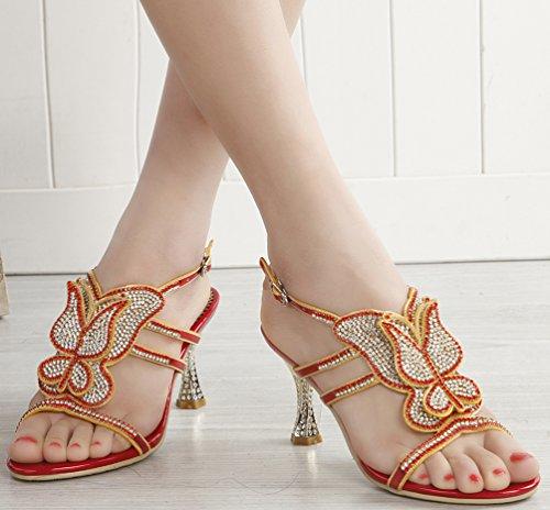 Abby L019 Donne Unico Sandali Nozze Sposa Damigella Esposizione Del Partito Vestito Tacco A Cono In Microfibra Rosso-c (cono Tallone)