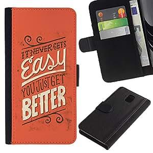 LASTONE PHONE CASE / Lujo Billetera de Cuero Caso del tirón Titular de la tarjeta Flip Carcasa Funda para Samsung Galaxy Note 3 III N9000 N9002 N9005 / Easy Better Never Inspiring Message