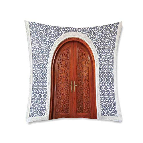 YOLIYANA Moroccan Soft Square Pillowcase,Antique Wooden Door of Asian Architecture with Star Form Oriental Belief Picture for Living Room Bedroom,17.7