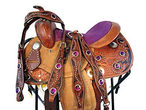 (12 13 Premium Leather Show Black Tooled Pony Child Kids Western Trail Saddle (12 Inch))